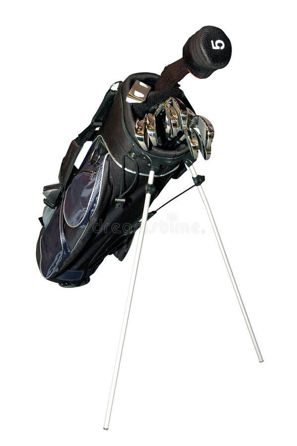 Golf-clubs en un bolso aislado fotos de archivo libres de regalías