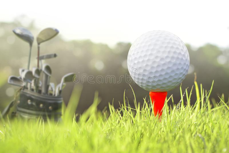 Golf on tee. royalty free stock photos