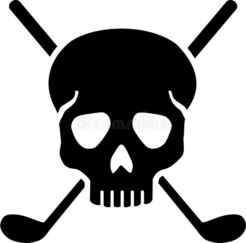 Golf Clubs with Skull vector illustration