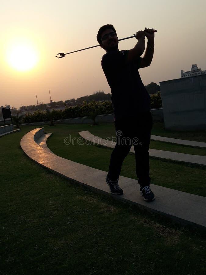 Golf con il bastone del selfie fotografie stock libere da diritti