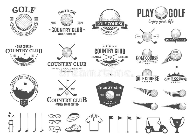 Golf country club logo, labels, icons and design elements stock illustration