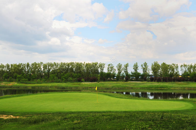 Golf course. S in the lake stock image