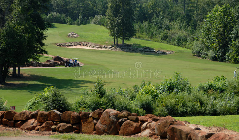 Golf course. View across the fairway and greens of a golf course in Georgia, USA royalty free stock photo