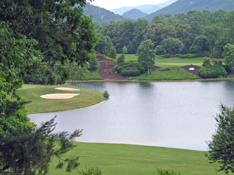 Golf course. Mountains of nc stock photo