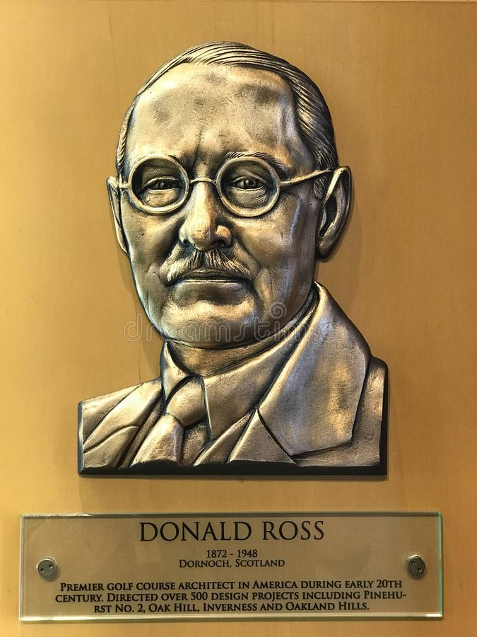 Golf Course Architect Donald Ross. Bronze plaque of World Golf Hall of Fame enshrinee Donald Ross on display in St. Augustine, FL stock image