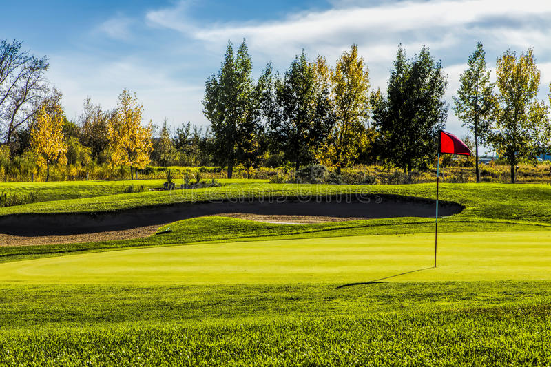 Download Golf Course in Autumn stock image. Image of hole, flag - 33934531