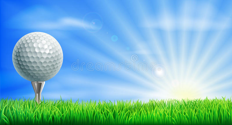 Golf course ball and tee. A golf ball on its tee in a green grass field golf course with sun rising stock illustration