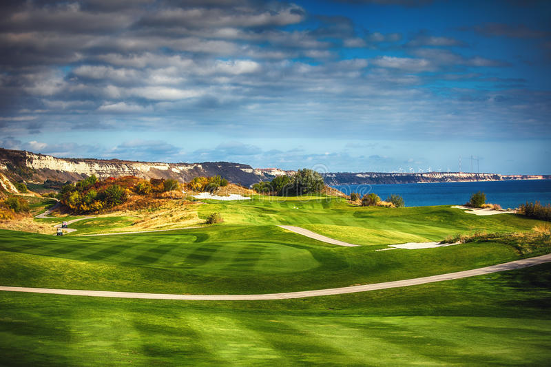 Golf course in the countryside royalty free stock photography
