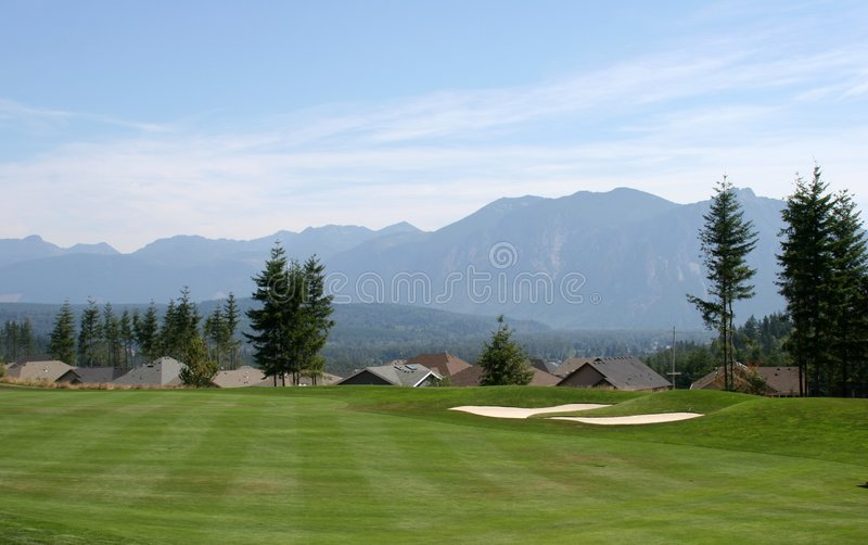 Golf Course Fairway. A scenic view taken from a golf course royalty free stock photos