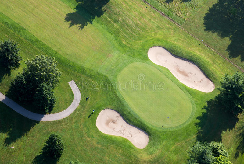 Golf Course Green Aerial Photo royalty free stock images