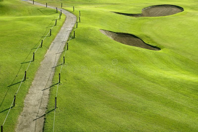 Golf Course Green Grass Hill Field With Holes Stock Photos