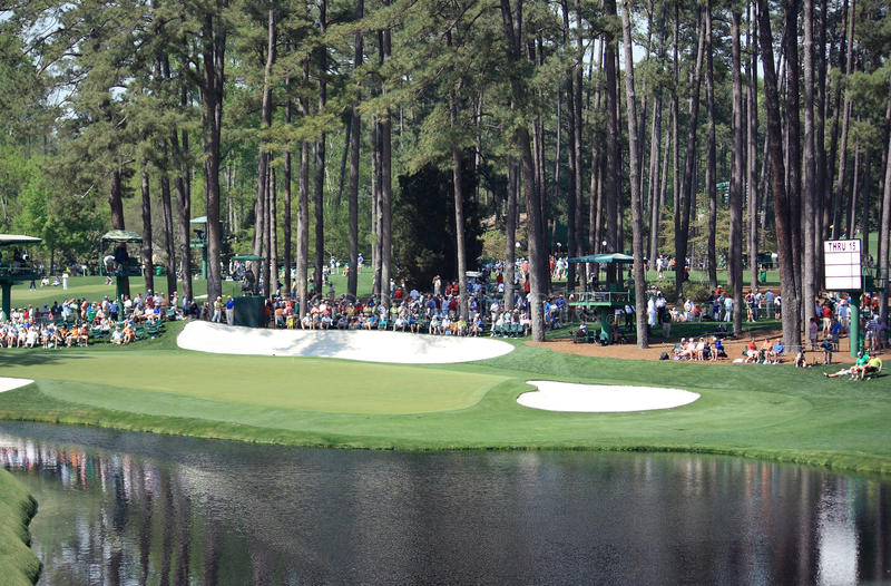Golf course hole. A green on Augusta National Golf Course stock image
