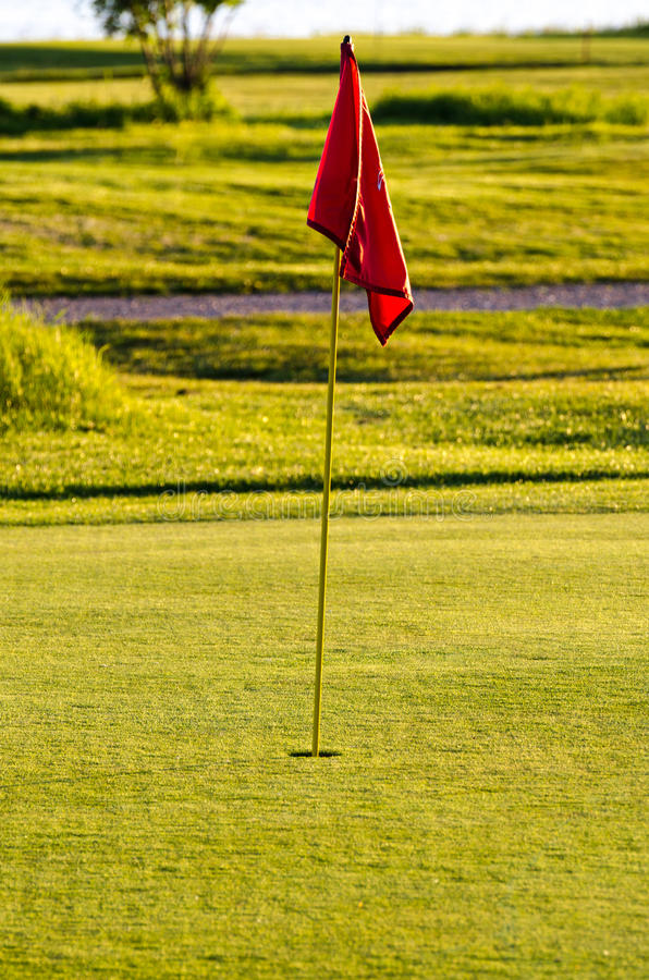Download Golf course hole flag stock image. Image of green, golden - 40714121