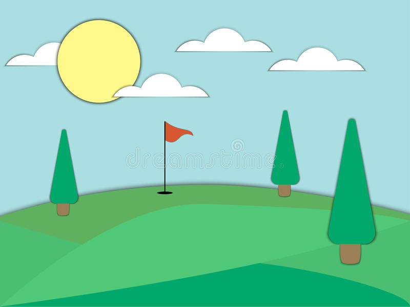 Golf course with a hole and a red flag. Paper art. Landscape with green fields and trees. Sunny day. Vector vector illustration