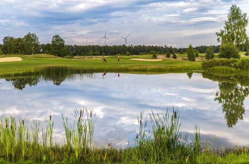 Golf lake at golf course stock photos