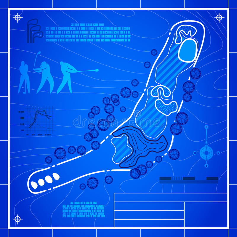 Golf course layout blueprint drawing. Golf course layout. Abstract design stylized blueprint technical drawing. White symbol on blue topographic background royalty free illustration