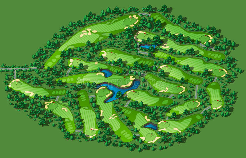 Golf course layout vector illustration