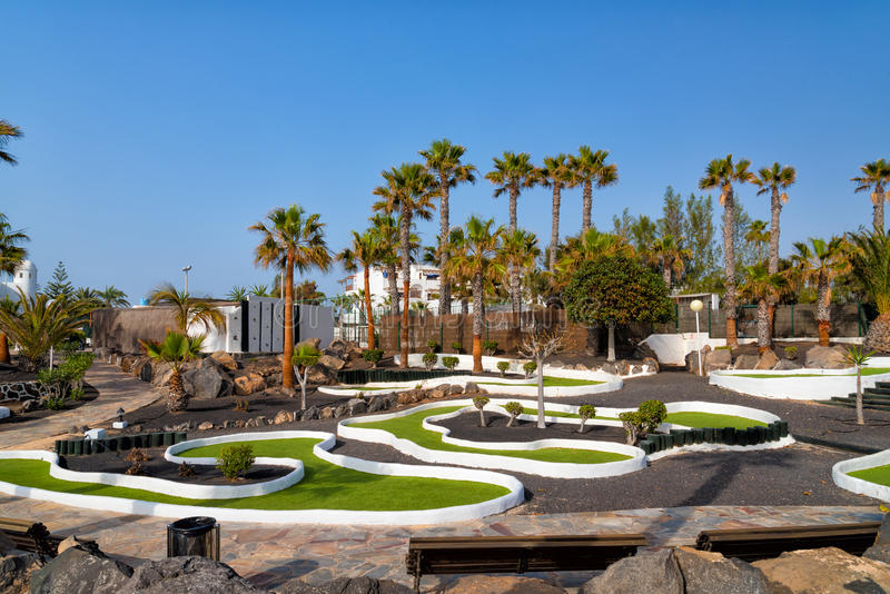 Golf course in a luxury hotel Lanzarote royalty free stock images