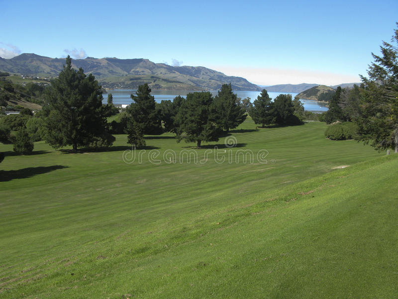 Golf course in New Zealand royalty free stock photography