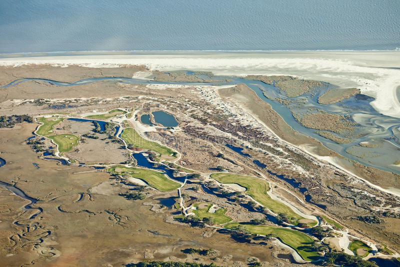 Download Golf course on the ocean stock photo. Image of course - 13133600