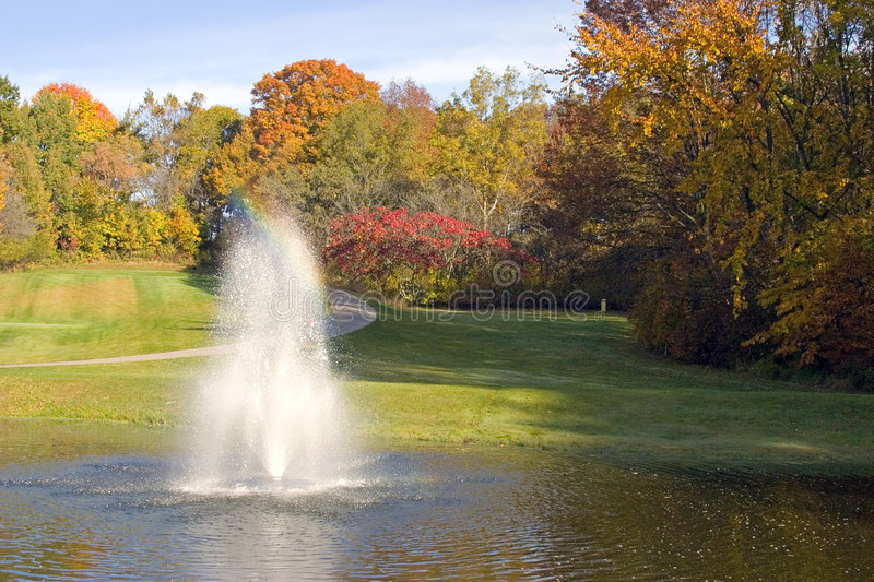 Download Golf Course Pond And Fountain Stock Photo - Image: 8675856