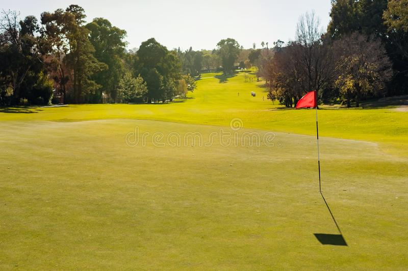 Golf Course putting green hole with flag stock photography