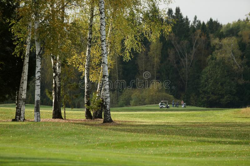 A golf course with roads, bunkers and ponds. And with golfcarts stock photography