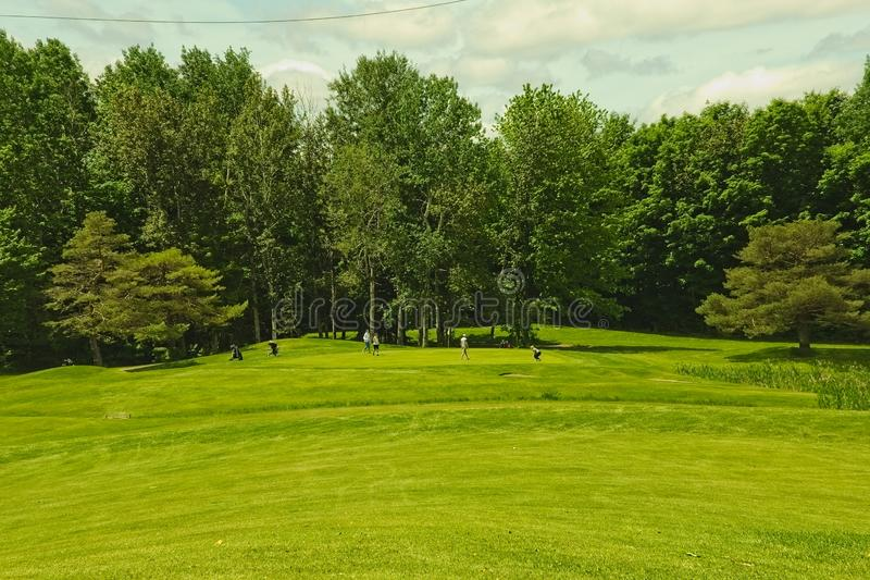 A golf course on a sunny day royalty free stock photo