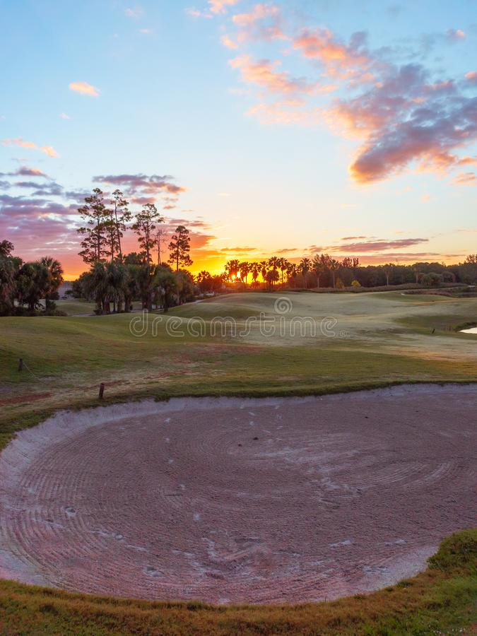 Golf Course Sunrise / Sunset in Florida stock images