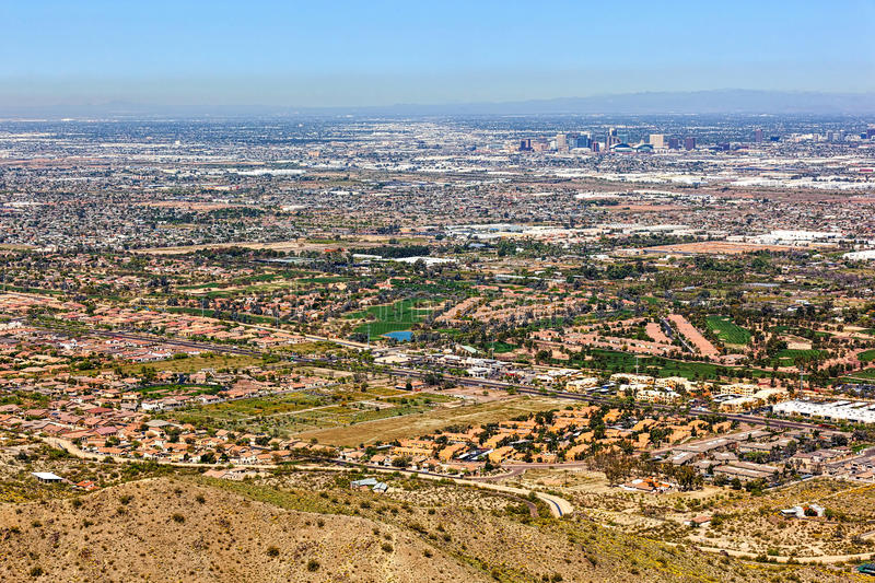 Golf Courses and Phoenix Skyline from above South Mountain royalty free stock images
