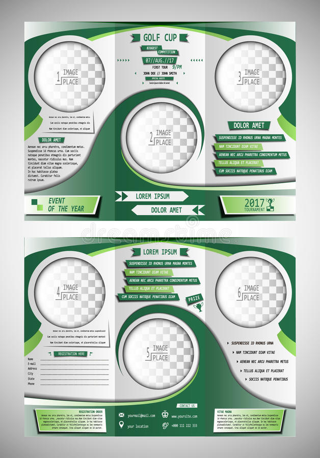 Golf cup tri fold brochure. Golf tournament tri fold brochure design stock illustration