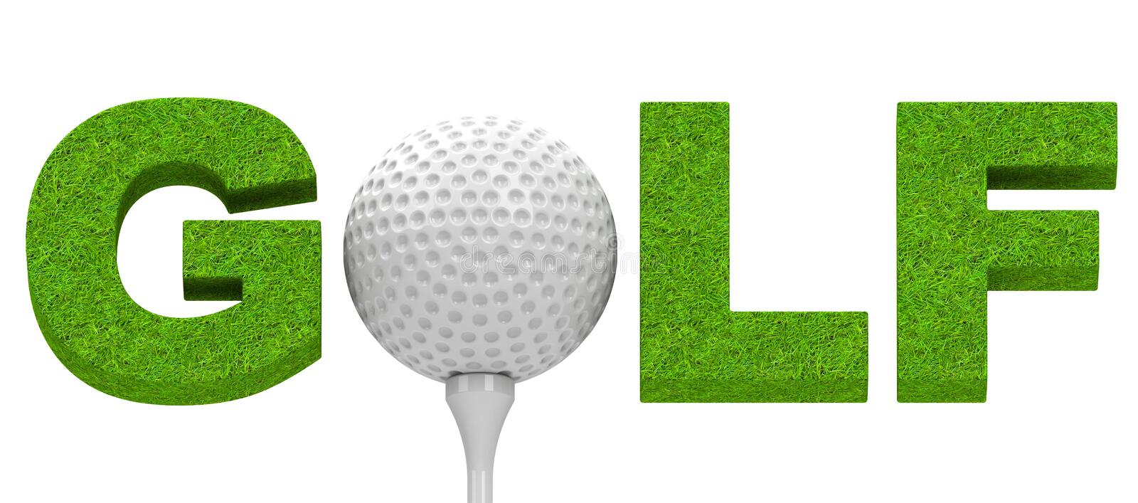 Golf. 3d generated picture of a golf ball, a golf tee and the word golf royalty free illustration