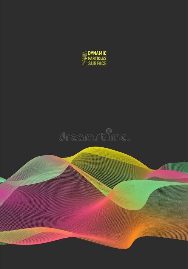 Golf 3d oppervlakte van deeltjes Abstract vector kleurrijk netwerk op lichte achtergrond Futuristische stijlkaart Elegant stock illustratie