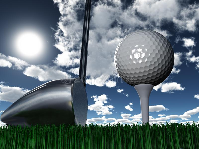 Golf Day. Golf club and ball. Sunny day stock illustration