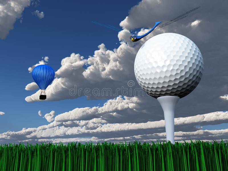 Golf Day. Ball on green court. Air balloon and dragonfly in cloudy sky vector illustration