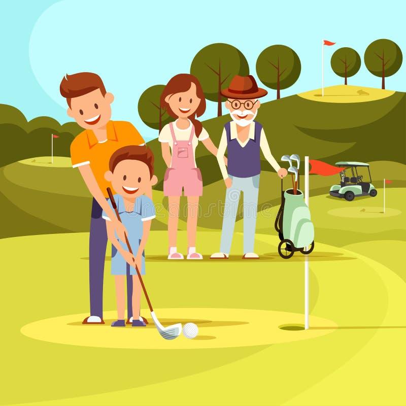 Golf de Teaching Son Playing de père, observation de famille illustration stock