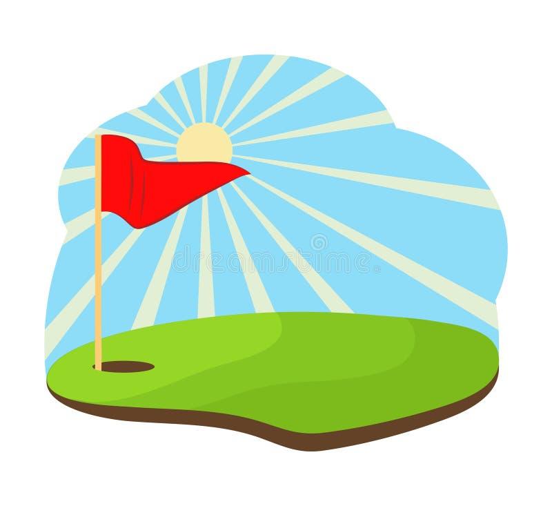 Golf del agujero con diseño del ejemplo del vector de la acción de la bandera roja libre illustration