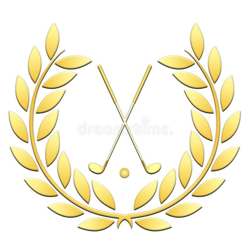Golf di sport della corona dell'alloro su un fondo bianco illustrazione vettoriale