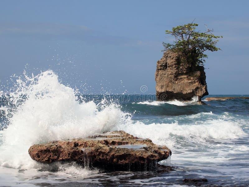 Golf die op rots verplettert stock fotografie