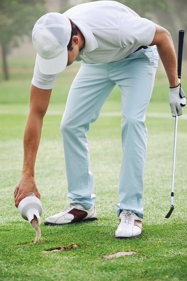 Golf divot zand royalty-vrije stock fotografie