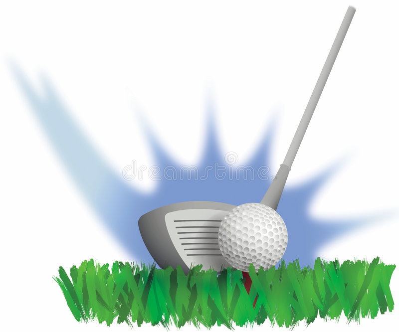 Golf Drive. Illustration of a golf club at the point of impact with the ball