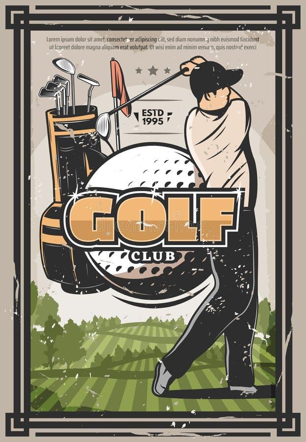 Golf el cartel del deporte con el golfista, el club y la bola ilustración del vector