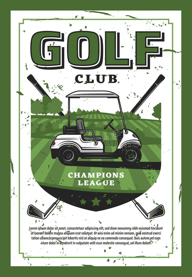Golf el coche y al club de golf en el cartel retro del vector del césped stock de ilustración