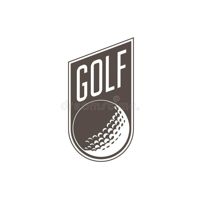 Golf el emblema del torneo o etiquete - la pelota de golf ilustración del vector