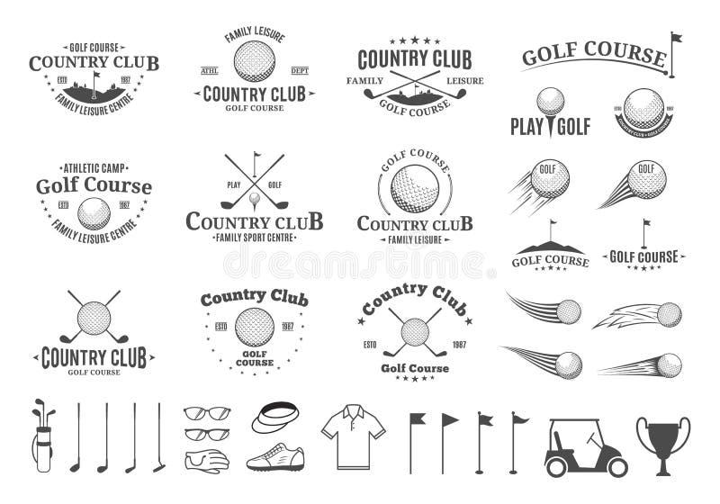Golf el logotipo del club de campo, las etiquetas, los iconos y los elementos del diseño ilustración del vector