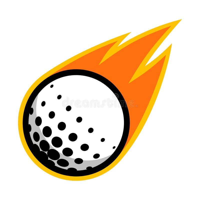 Golf el logotipo del vuelo de la cola del fuego del cometa de la bola del deporte ilustración del vector