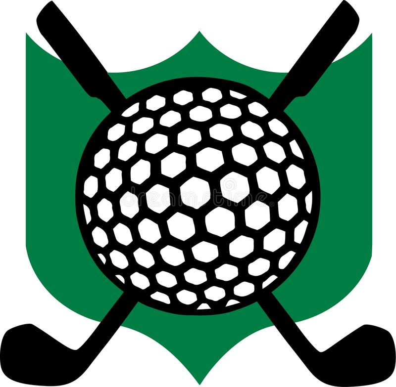 Golf Emblem with Clubs royalty free illustration