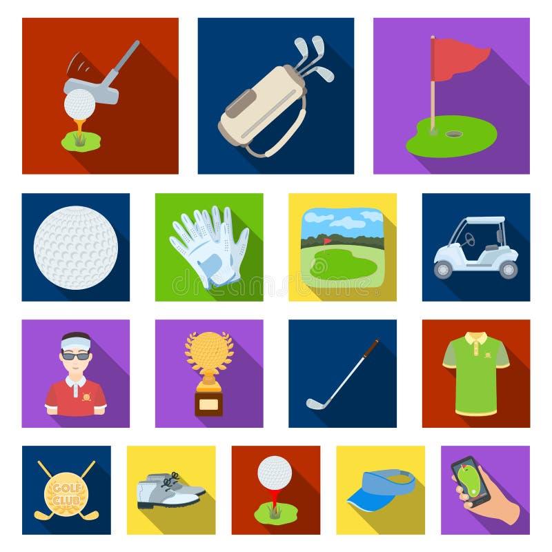 Golf en attributen vlakke pictogrammen in vastgestelde inzameling royalty-vrije illustratie