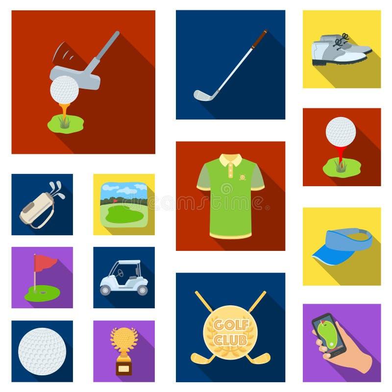 Golf en attributen vlakke pictogrammen in vastgestelde inzameling voor ontwerp Golfclub en materiaal vector het Webillustratie va royalty-vrije illustratie