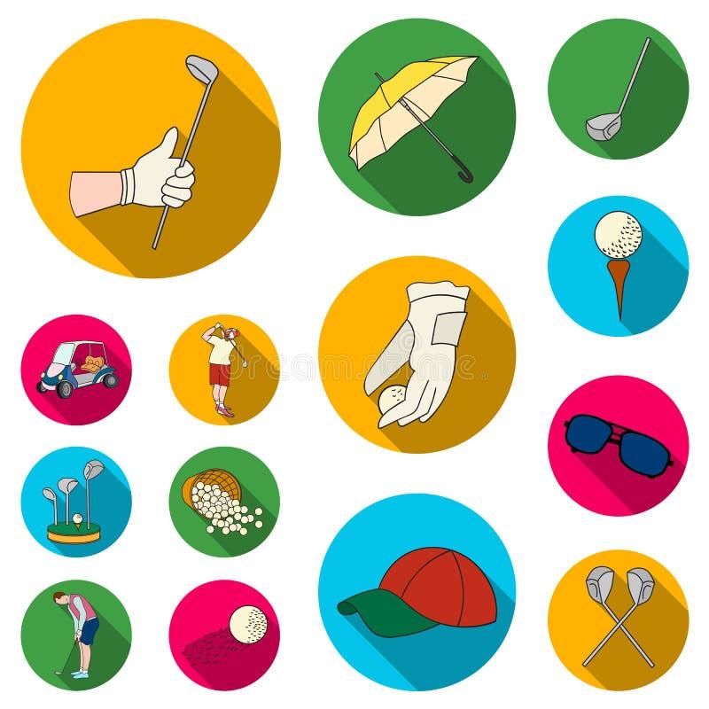 Golf en attributen vlakke pictogrammen in vastgestelde inzameling voor ontwerp Golfclub en materiaal vector het Webillustratie va stock illustratie